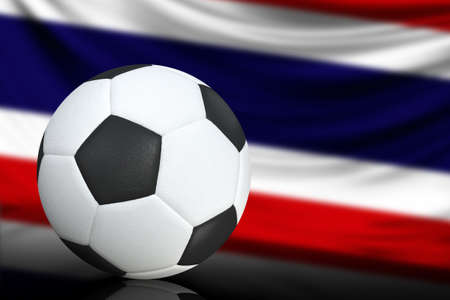 Photo pour Soccer black and white ball close up, in the background a blurred flag of Costa Rica. The image takes place for your text. - image libre de droit