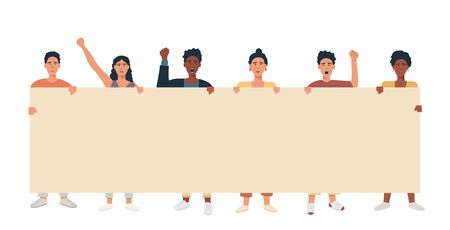 Illustration pour A group of people mix race multicultural holding big banner and protesting. Protesters with blank placard for text announcement or ad. Vector flat illustration. - image libre de droit