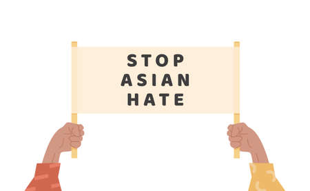 Illustration pour Man or women holding text banner against bullying and racism. People holding placard with message. Stop asian hate. Proud to be asian. Support people during pandemic. Isolated flat vector. - image libre de droit