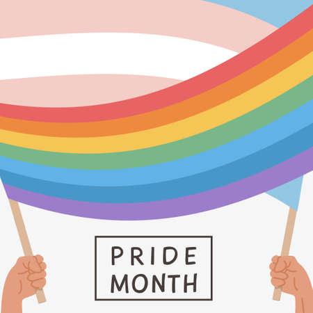 Illustration pour Vector Banner with LGBT rainbow and Transgender flag. Social media post, story or poster template with queer community flags. Greeting Card for pride month celebration. Flat style Illustration. - image libre de droit