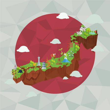 Japan cute map ,Japanese landmark and culture.の素材 [FY31044148718]
