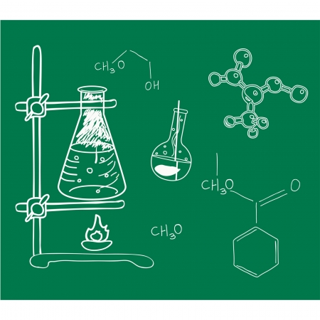 Old science and chemistry  laboratory sketches on school board.
