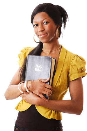 This is an image of a woman holding a bible.