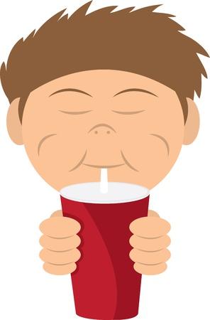 Boy drinking a soda or shake from straw