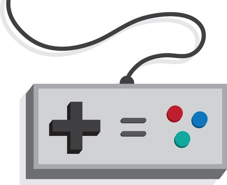 Retro game controller isolated on white