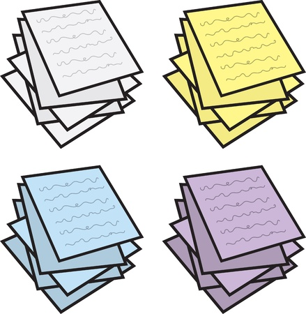 Stack of paper notes in various colors