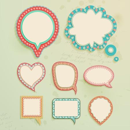 Ilustración de Vintage paper bubbles for speech. Vector illustration. - Imagen libre de derechos