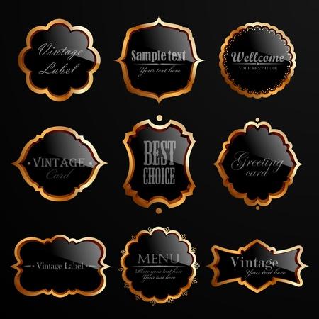 Set of black gold labels illustration.