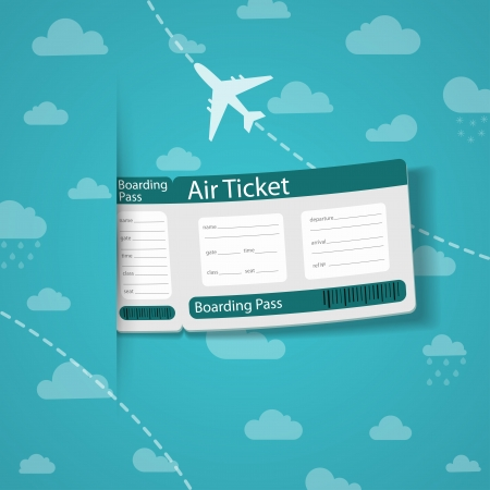 Air ticket on sky background  Vector illustration