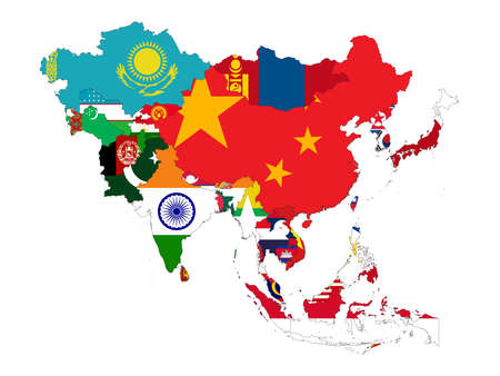 Illustration pour vector illustration of Map of Asia countries with national flag - image libre de droit