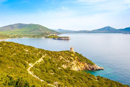 Nature Caccia cape and watchtower Punta Del Bollo in Sardinia - Italy