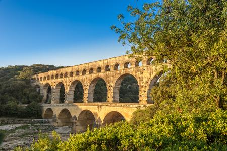 Bridge Pont du Gard over Gardon river - France