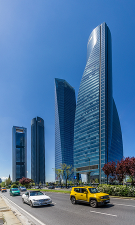 MADRID, SPAIN - APRIL 26.2016 - Four Towers Business Area of ??Madrid. The area contains the tallest skyscrapers in Spain The Torre Espacio (224 m), Torre de Cristal (249 m), Torre PwC (236 m) and Torre Cepsa (248 m).