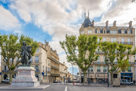 BEZIERS,FRANCE - AUGUST 27,2016 - Place Jean Jaures with statue of Paul Riquet in Beziers.Paul Riquet was the engineer and canal-builder responsible for the construction of the Canal du Midi.