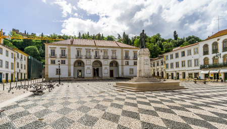 TOMAR,PORTUGAL - MAY 11,2017 - City hall at the Place of Republic in Tomar. Tomar is one of Portugals historical jewels and more significantly was the last Templar town to be commissioned for construction.