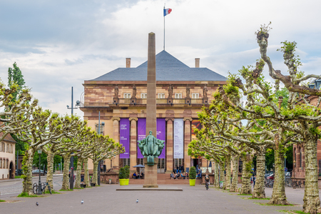 STRASBOURG, FRANCE - MAY 15,2018 - View at the Opera and Theater building in Strasbourg. Strasbourg is the capital and largest city of the Grand Est region of France and is the seat of the European Parliament.