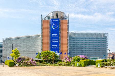 Foto de BRUSSELS,BELGIUM - MAY 18,2018 - View at the Berlaymont building (European Commission) in Brussels. Brussels is the capital of Belgium. - Imagen libre de derechos