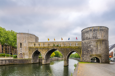 Trous bridge over Scheldt river in Tournai, Belgium