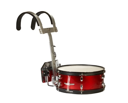 Close-up of a musical instrument, marching snare drum, isolated on white background.