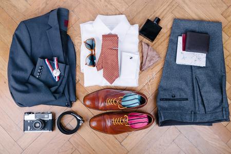 Photo pour Men accessories on vintage wooden table - image libre de droit