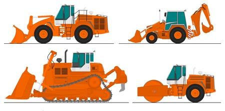set of four construction machines