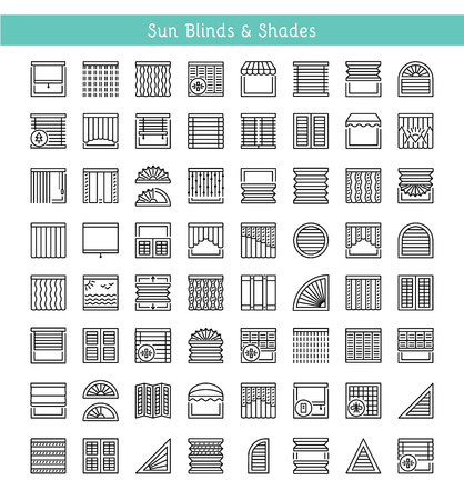 Illustration pour Blinds & Shades. Sun protection. Room darkening & light blocking  jalousies. Interior shutters & panel curtains. Home decor elements. Window coverings. Line icon collection. - image libre de droit