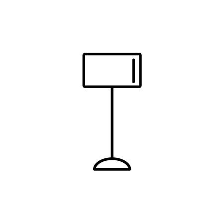 Vector illustration of classic floor lamp. Line icon of drum torchiere. Standing light fixture. Home & office lighting. Isolated object on white background.