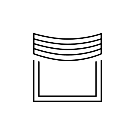 Vector illustration of fabric curtain with central pleated drapery. Line icon of window shade. Isolated object on white background