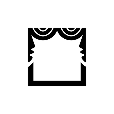 Vector illustration of fabric valance with  symmetric swags. Flat icon of window pelmet. Isolated object on white background
