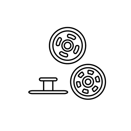 Black & white illustration of metal snap fasteners. Stud denim buttons. Vector line icon. Isolated object on white background