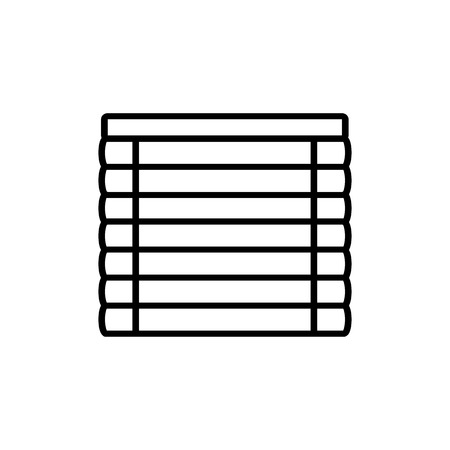 Illustration pour Black & white vector illustration of venetian plastic curtain shutter. Line icon of window horizontal jalousie. Isolated object on white background - image libre de droit