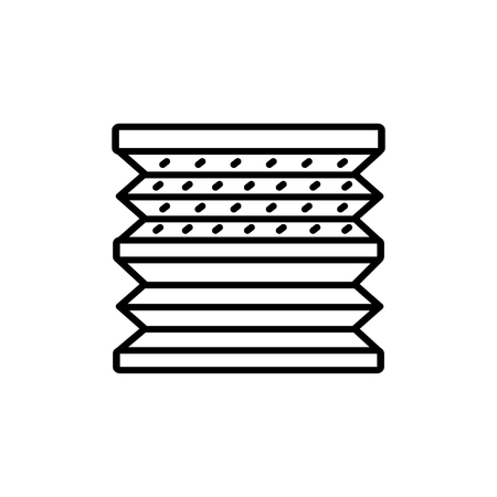 Black & white vector illustration of double pleated shades blinds. Line icon of window horizontal curtain jalousie. Isolated object on white background