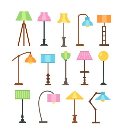 Illustration pour Modern floor lamps with led light bulbs. Standing lampshades. Accent light fixtures for home. Vector flat icon set. Isolated objects on white background - image libre de droit
