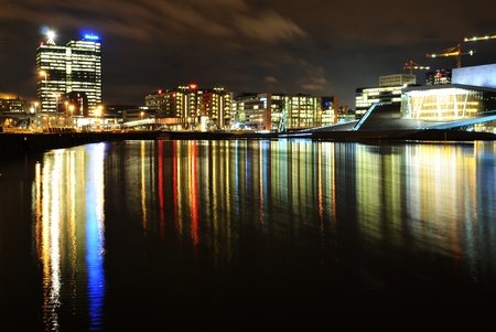 Oslo, Norway - 16 Dec, 2011: Night reflections of modern architecture in Oslo