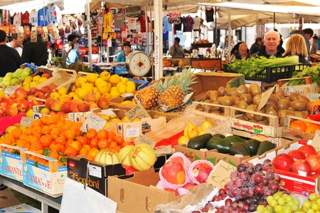 Rome, Italy - 28 March, 2012: Fresh fruits and vegetables  for sale in Campo de Fiori, famous outdoor market in central Rome