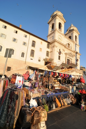 Rome, Italy - 30 March, 2012: Souvenir shop in front of the church of the Santissima Trinit?ei Monti, Rome