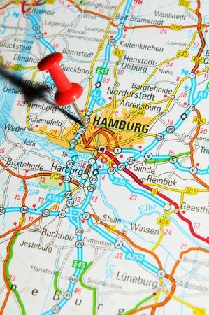 London, UK - 13 June, 2012: Hamburg, Germany marked with red pushpin on Europe map.