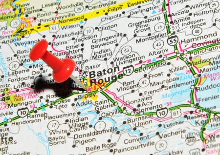 London, UK - 13 June, 2012: Baton Rouge marked with red pushpin on the United States map