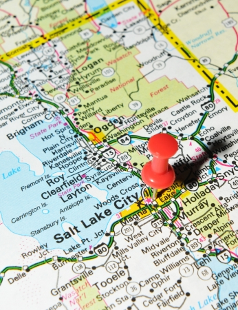 London, UK - 13 June, 2012: Salt Lake City, Utah marked with red pushpin on the United States map