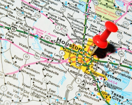 London, UK - 13 June, 2012: Houston, Texas marked with red pushpin on United States map