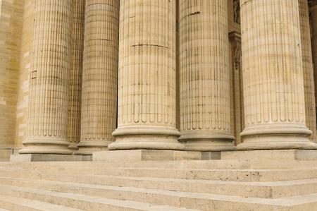 Architectural detail of columns in Paris, France.