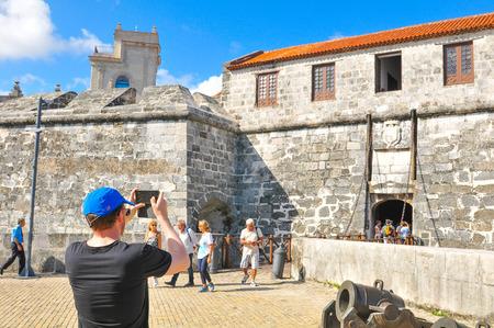 Havana, Cuba - December 19, 2016: Tourists visit Castillo de la Real Fuerza, major landmark in Havana, Cuba