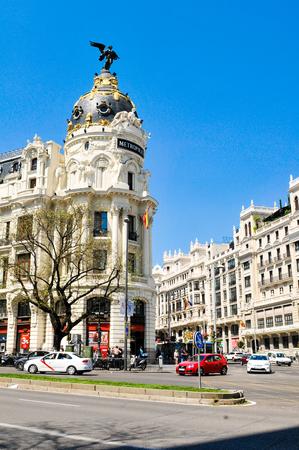 Madrid, Spain - April 10, 2016: Architectural detail of Metropolis building, a commercial landmark in Madrid, Spain