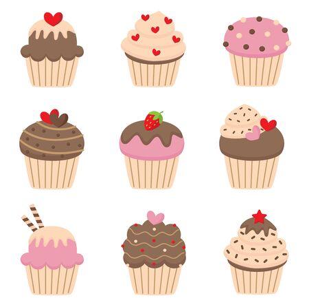 Illustration pour Set of cute valentine's cupcakes. - image libre de droit