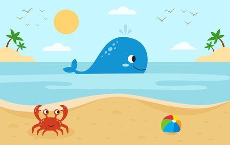 Illustration pour Sea landscape with cute cartoon animals. Big whale and red crab. Beach in summer. - image libre de droit