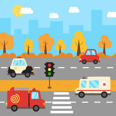 Illustration for City landscape with cartoon transportation on the road. - Royalty Free Image