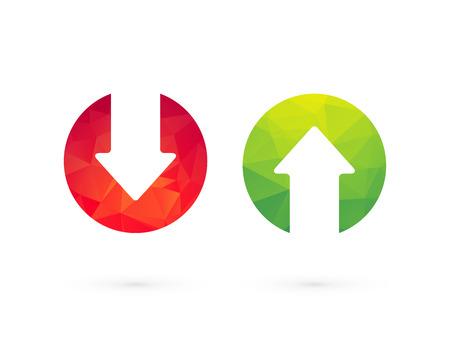 Illustration pour Up down arrows red green - image libre de droit