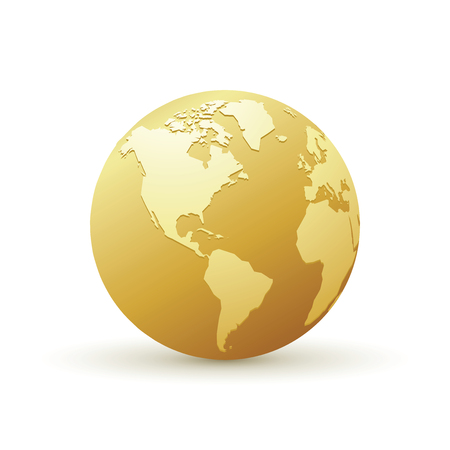 Illustration for golden world globe america - Royalty Free Image