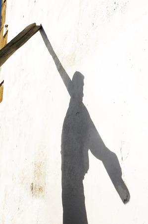 shadow of fisherman with big oars
