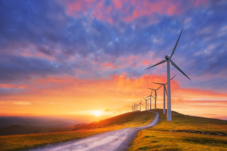 Photo for renewable energy with wind turbines - Royalty Free Image